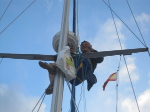 Replacing the foghorn after the last one was removed by a suicidal sail