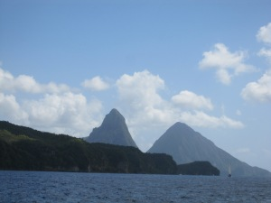 Approaching Soufriere Bay & The Pitons mountains