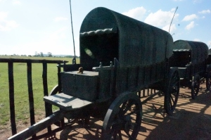 One of the wagons showing the wooden defences at Blood River
