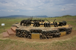 Zulu memorial at Isandlwana depicting the necklace given to the bravest warriors.
