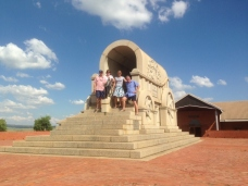 The Klinkenbergs and Westwoods on the original granite monument at Blood River